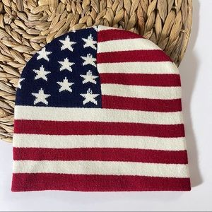 USA Winter Cold Cap Beanie Hat Red White Blue